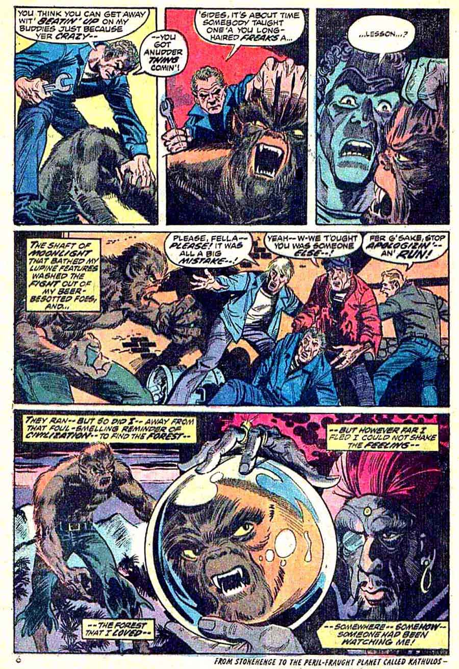 Werewolf by Night v1 #6 1970s marvel comic book page art by Mike Ploog
