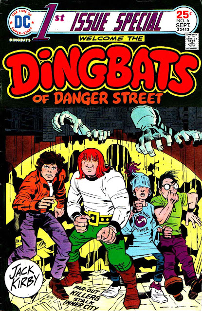 First Issue Special v1 #6, 1975 dc bronze age comic book cover by Jack Kirby - 1st  Dingbats of Danger Street