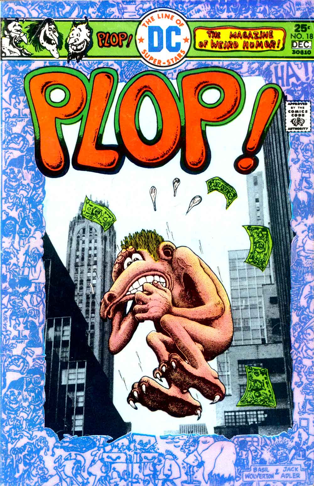 Plop v1 #18 dc 1970s bronze age comic book cover art by Basil Wolverton