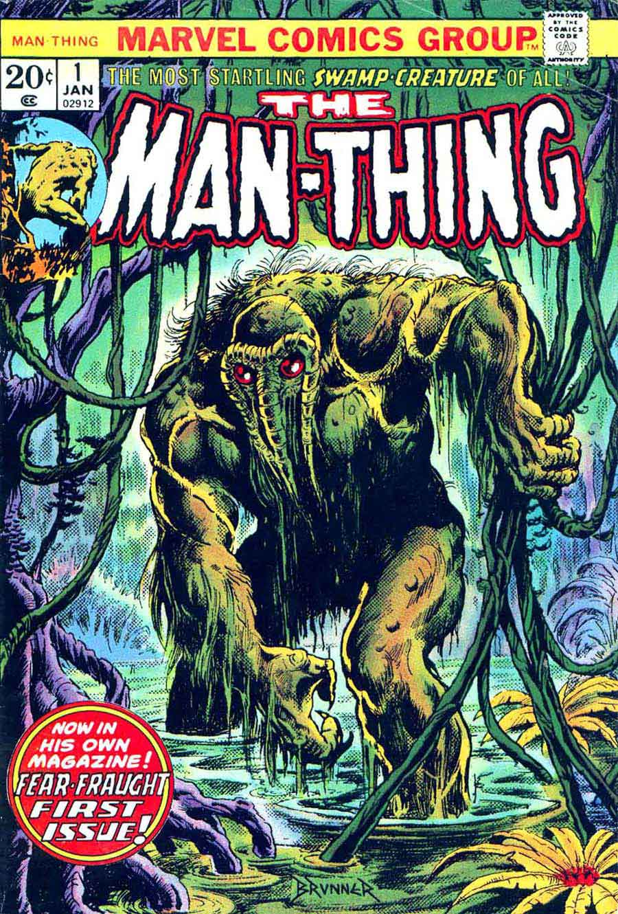 Man-Thing v1 #1 marvel 1970s bronze age comic book cover art by Frank Brunner
