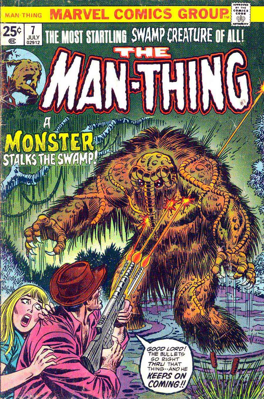 Man-Thing v1 #7 marvel 1970s bronze age comic book cover art