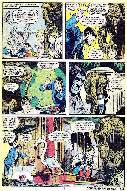 Man-Thing v1 #6 marvel 1970s bronze age comic book page art by Mike Ploog