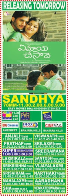 Ye maya chesave theaters list