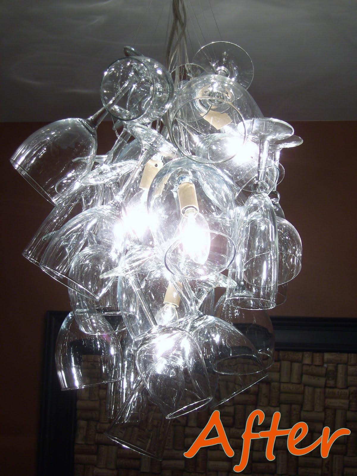 Remodelaholic diy wine glass chandelier guest project close up arubaitofo Choice Image