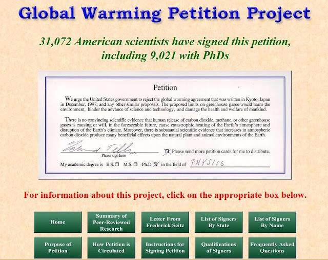 """Pelo menos 31.072 cientistas americanos pediram por escrito ao governo recusar o falso """"consenso""""sobre o aquecimento global"""