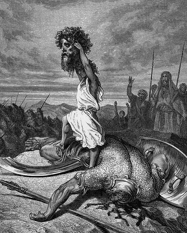 Davi exibe a cabeça de Golias. Gustave Doré, séc.XIX