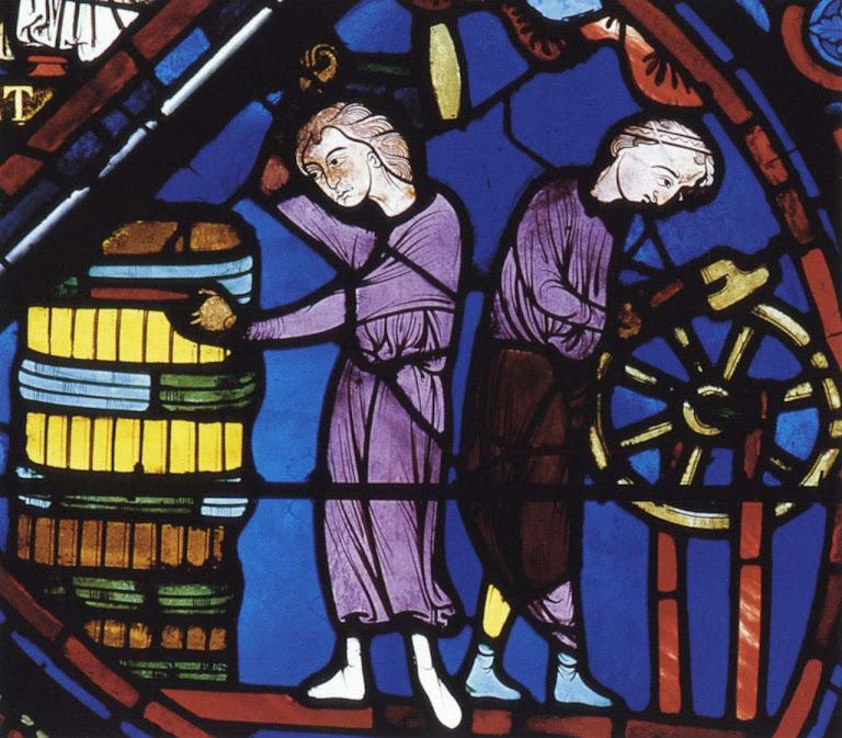 Mestre e aprendiz fabricando tonéis, catedral de Bourges