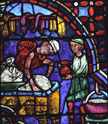Tintureiro, aprendiz auxilia mestre e aprende ofício. Catedral de Chartres, vitral dos Apóstolos