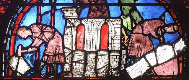 Mestre escultor e servente. Catedral de Chartres, vitral de São Silvestre