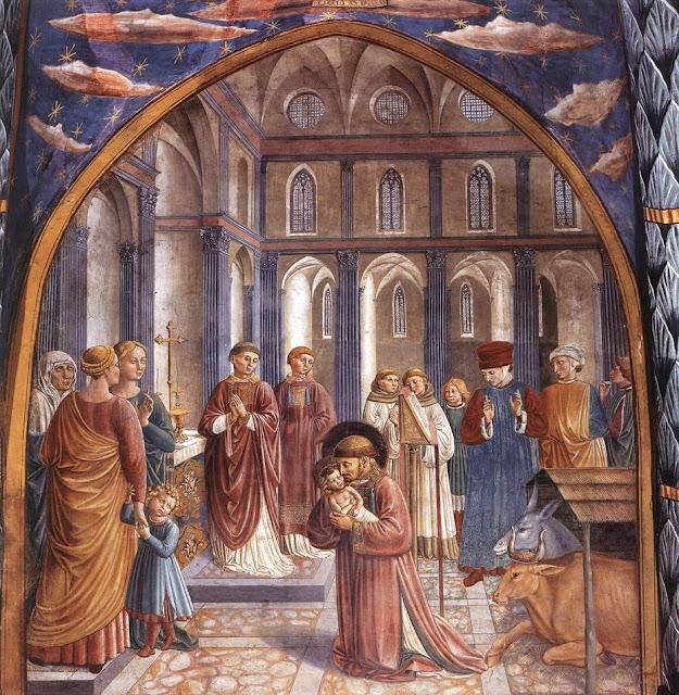 Sao Francisco de Assis, primeiro presepio vivo, Grecchio, Benozzo Gozzoli, 1452, Montefalco