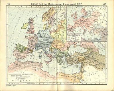 Mapa da Europa no tempo da primeira Cruzada