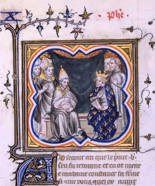 O rei Filipe I da França conversa com o Papa Pasqual II. Grandes Chroniques de France, Bibliotèque National de France.