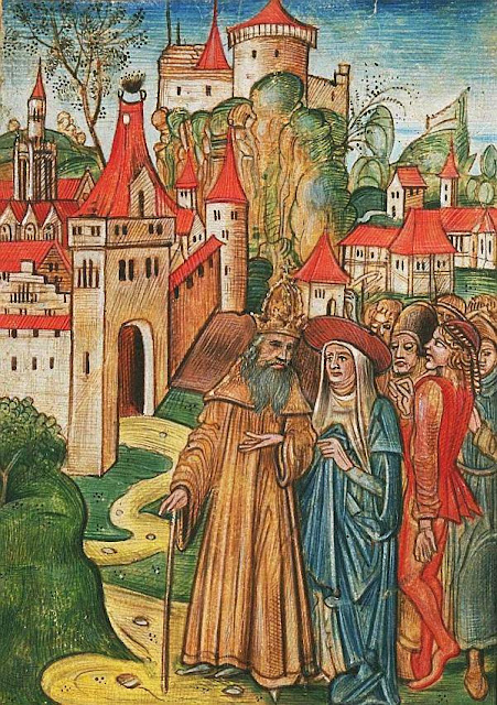 Imperador, Cardeal, nobres e populares discutem sobre a cidade: povo hierárquico vivendo na harmonía