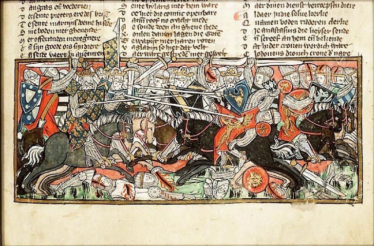 Clóvis I em batalha contra os visigodos. Iluminura de manuscrito na Biblioteca Nacional da Holanda