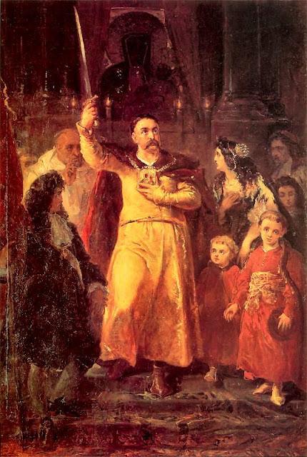 Jan III Sobieski em Czestohowa, diante da padroeira da Polonia