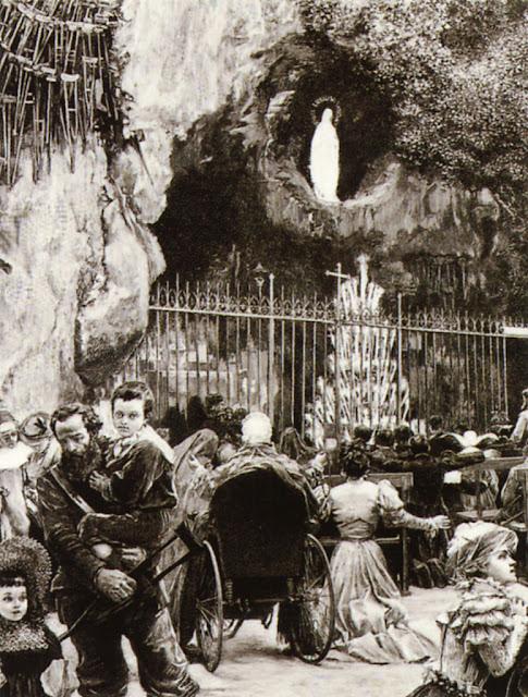Santa Bernadete nunca mais voltou. Gravura da gruta no século XIX.