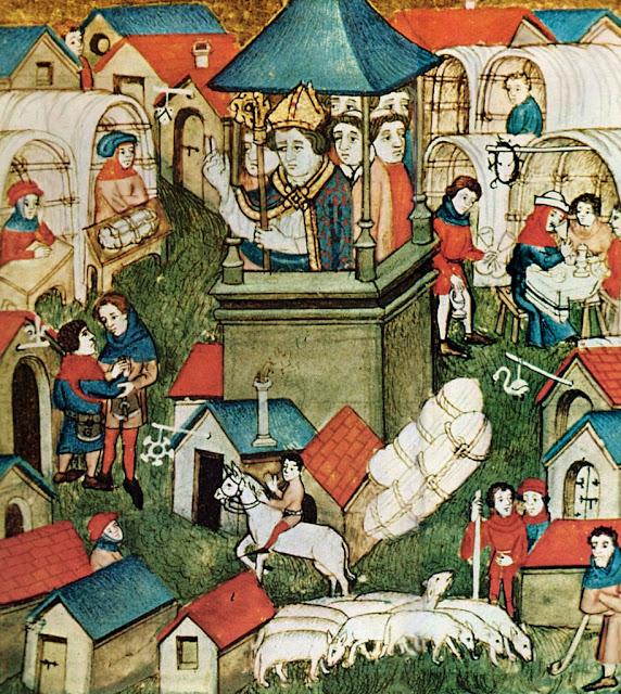 """""""La foire du Lendit"""", anônimo, século XIV, 'Pontifical de Sens', França,  na BnF (departemento dos Manuscritos, Latin 962, fol. 264."""