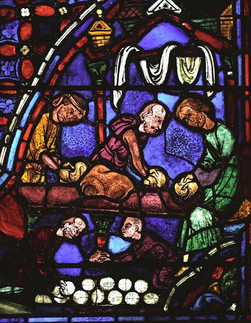 Padeiros, mestres e auxiliares. Catedral de Chartres, vitral dos Apostolos