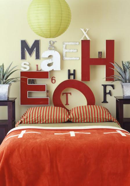 Lettered headboard @ DIY Design Maven & 20 Headboard Ideas