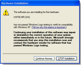 Windows XP Driver Signing Warning during Hardware installation