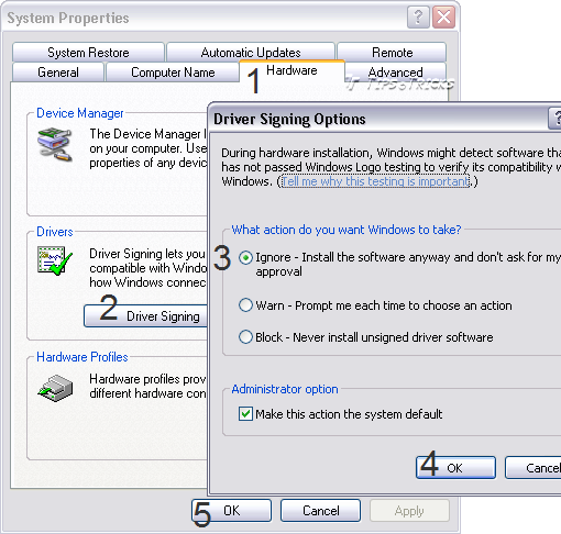 How to Disable Windows XP Driver Signing Warning