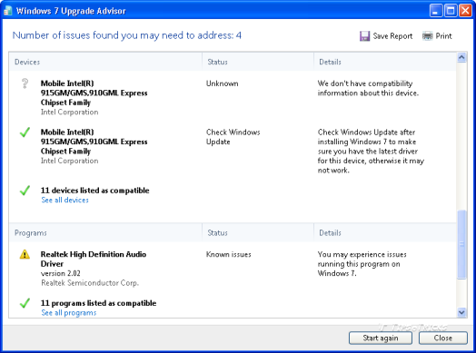 Screenshot of Windows 7 upgrade advisor