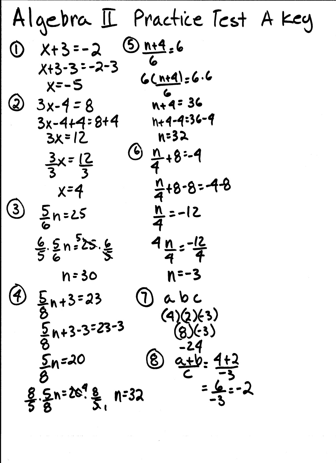 Apache Math: Algebra 2 Chapter 1 Practice Test AKEY