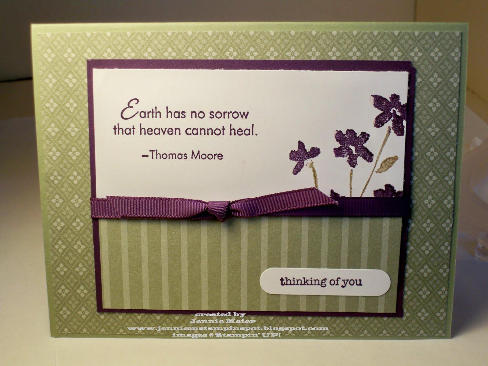 jennie m's stampin spot simple sympathy card