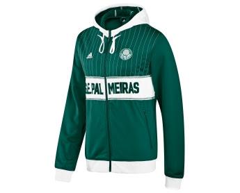 036bdbd6da559 Agasalho feminino (Palmeiras Track Top)  Neste a faixa branca vem mais  acima e engloba o escudo e o logo adidas. Atrás