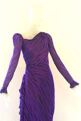 c4a56a36bed Circa 1978 deep violet Yves Saint Laurent Rive Gauche dress. Size 38.