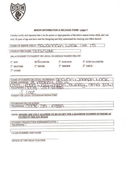 Sample Actor Release Form - staruptalent - - actor release form