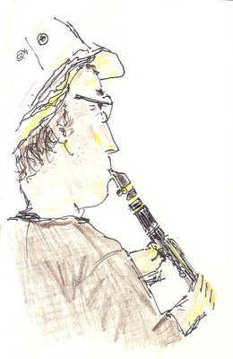 Drawing of Dave T playing clarinet