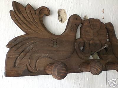 Artesan a r stica en madera perchero tallado a mano art for Colgadores de madera