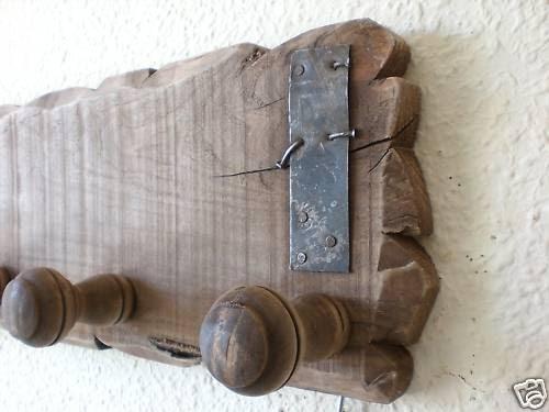 Artesan a r stica en madera perchero de madera con - Percheros de madera rusticos ...