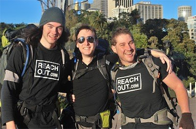 Brisbane northside residents Jack Clarke, Peter Johnston and Matt Gardner, 22, have started a 23-day walk from Sydney to Brisbane to promote mental health.