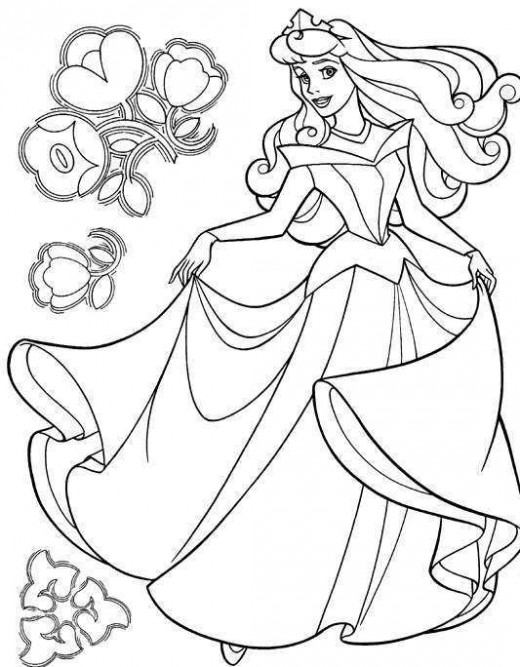 Aurora Princess Disney Characters Coloring Pages