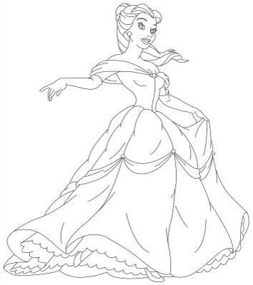 disney jr princess coloring pages | Disney Princess Belle and Her Gown Coloring Sheet