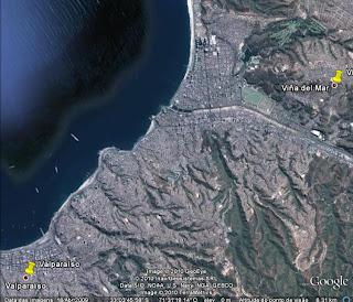 Localização de Viña del Mar e Valparaíso