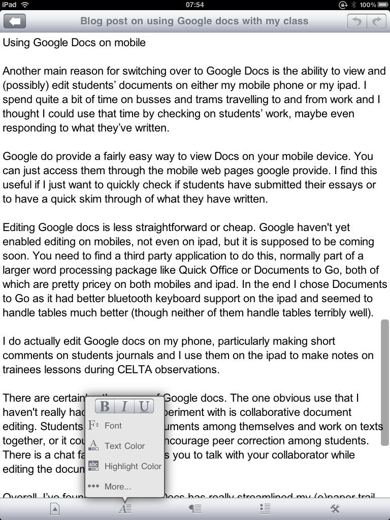 Mobile Esl Using Google Docs In The Efl Classroom