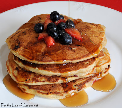 Banana, Blueberry, and Strawberry Pancakes