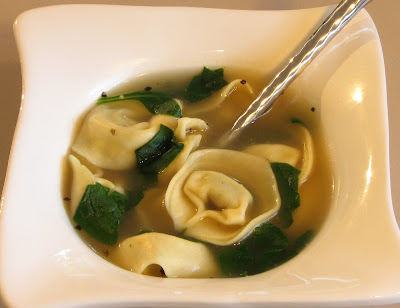 Pesto Tortellini and Spinach Soup
