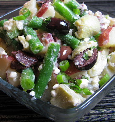 Potato Salad with Artichokes, Green Beans, Olives and Feta