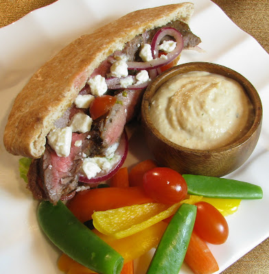 Greek Steak Pita with Tzatziki Sauce and Marinated Red Onion
