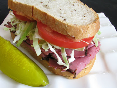 Pastrami, Tomato and Coleslaw on Rye