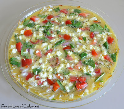 Tomato, Spinach, and Dill Quiche with a Shredded Potato Crust