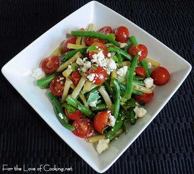 Green and Yellow Beans, Tomatoes, and Basil in a Balsamic Vinaigrette