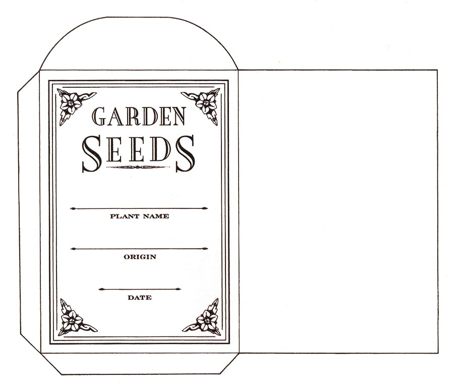 Seed saving envelope to print content in a cottage for Blank seed packet template