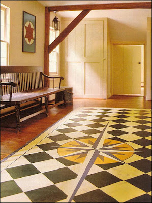 Painted Floor Cloth With Mariner S Compass Content