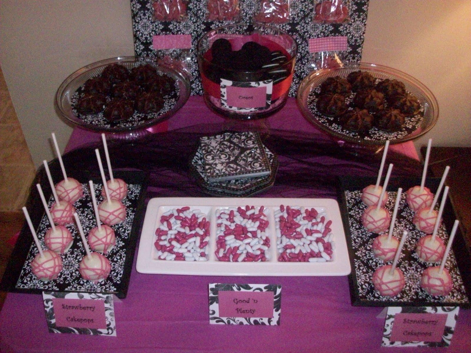 Sweete Parties Pink Black Bachelorette Treat Table