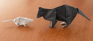 Origami paper cat and mouse
